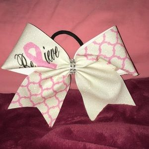 Believe breast cancer bow